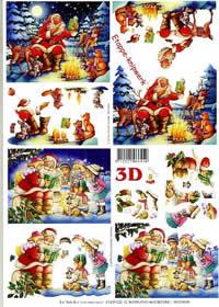 3D Bogen Weihnachtsmann im Wald - Format A4