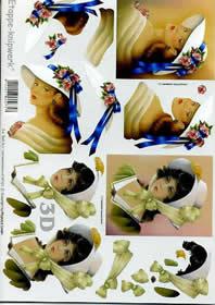 3D Bogen - Frauen+Hut+Schleife Format A4