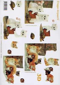 3D Bogen Kätzchen - Kätzchen - Format A4