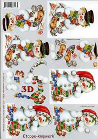 3D Bogen Schneemann - Format A4
