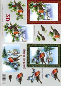 3D Bogen Weihnachts - Rotkehlchen - Format A4