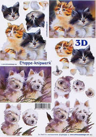 3D Bogen Katze und Hunde - Format A4