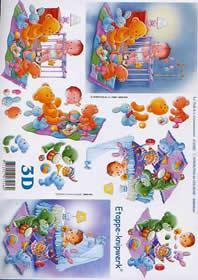 3D Bogen Baby in Laufstall + Wiege - Format A4