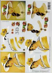 3D Bogen Gelbe Dame mit weißem Hut - Format A4