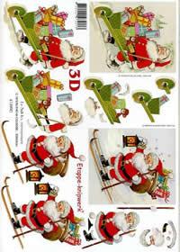 3D Bogen Weihnachtsmann auf Ski - Format A4