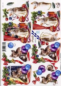 3D Bogen Weihnachtskatzen - Format A4
