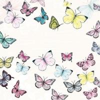 Servietten 25x25 cm - Schmetterling Weiß