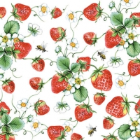 Servietten 25x25 cm - Strawberries All Over White