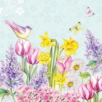 Servietten 25x25 cm - Blooming Garden Turquoise