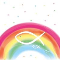 Servietten 25x25 cm - Regenbogen Weiß