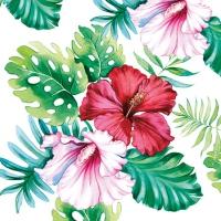 Servietten 25x25 cm - Hibiskus Floral Weiß