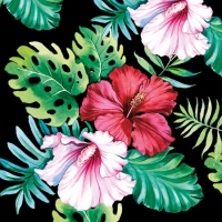 Servietten 25x25 cm - Hibiskus Blume Schwarz