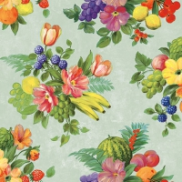 Servietten 25x25 cm - Flowers And Fruits Green