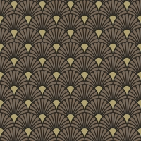 Servietten 25x25 cm - Art Deco Black/Gold