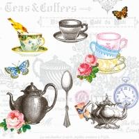Servietten 25x25 cm - Tea Mix White