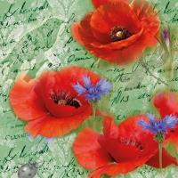 Servietten 25x25 cm - Painted Poppies Green