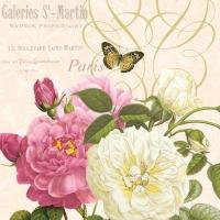 Servietten 33x33 cm - Pink And White Roses Cream