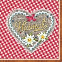 Servietten 33x33 cm - Heimat Herz Rot