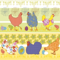 Servietten 33x33 cm - Modern Chickens Yellow