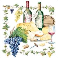 Servietten 33x33 cm - Wein und Käse