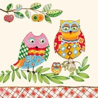 Servietten 33x33 cm - Family Owl