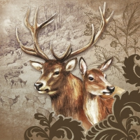 Servietten 33x33 cm - Deer Couple Brown