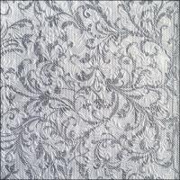 Servietten 33x33 cm - Elegance Damask White/Silver