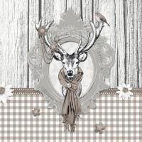 Servietten 33x33 cm - Decorated Deer Taupe