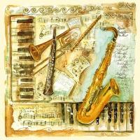 Servietten 33x33 cm - Musical Instruments