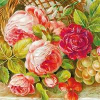 Servietten 33x33 cm - Antikes Blumenmuster