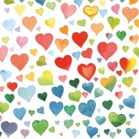 Servietten 33x33 cm - Farbenfrohe Herzen Mischung