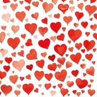Servietten 33x33 cm - Colourful Hearts Red