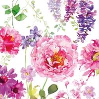 Servietten 33x33 cm - Rosa Rosen Weiß