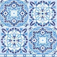 Servietten 33x33 cm - Tiles Blue