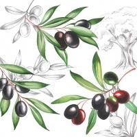 Servietten 33x33 cm - Olives