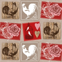 Servietten 33x33 cm - Roses And Roosters