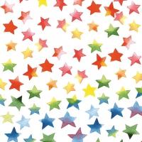 Servietten 33x33 cm - Farbenfroher Sternen-Mix