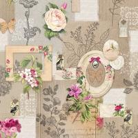 Servietten 33x33 cm - Rahmen und Blumen
