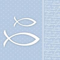 Lunch Servietten Glaube Fisch Blue
