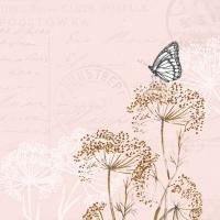 Servietten 33x33 cm - Schmetterlingszweige Rose