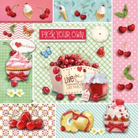 Servietten 33x33 cm - Red Cherries