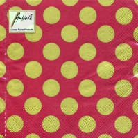 Servietten 33x33 cm - Big Dots Red/Gold