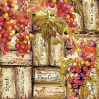 Servietten 33x33 cm - Grapes & Corks