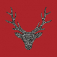 Lunch Servietten Stag Head Red