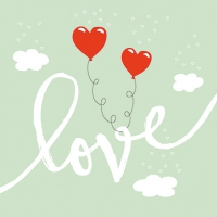 Servietten 33x33 cm - Love Balloons Mint