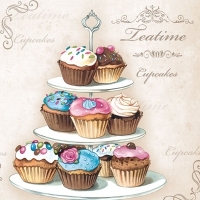 Servietten 33x33 cm - Cupcakes on Etagere