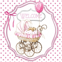 Servietten 33x33 cm - Welcome pink