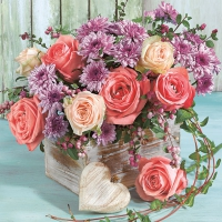 Servietten 33x33 cm - Rosen und Chrysanthemen
