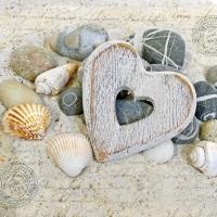 Servietten 33x33 cm - Heart And Stones