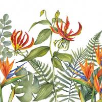 Servietten 33x33 cm - Tropische Blumen Weiß